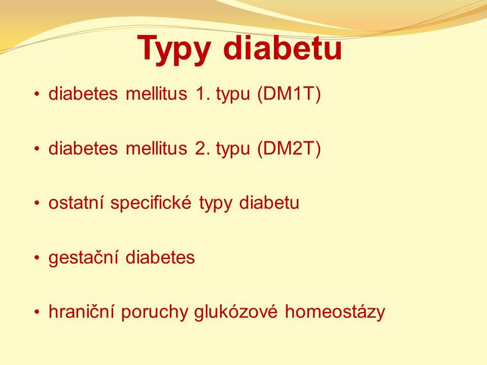 Typy diabetu diabetes mellitus 1. typu (DM1T) diabetes mellitus 2. typu (DM2T) ostatní specifické typy diabetu gestační diabetes hraniční poruchy gluk