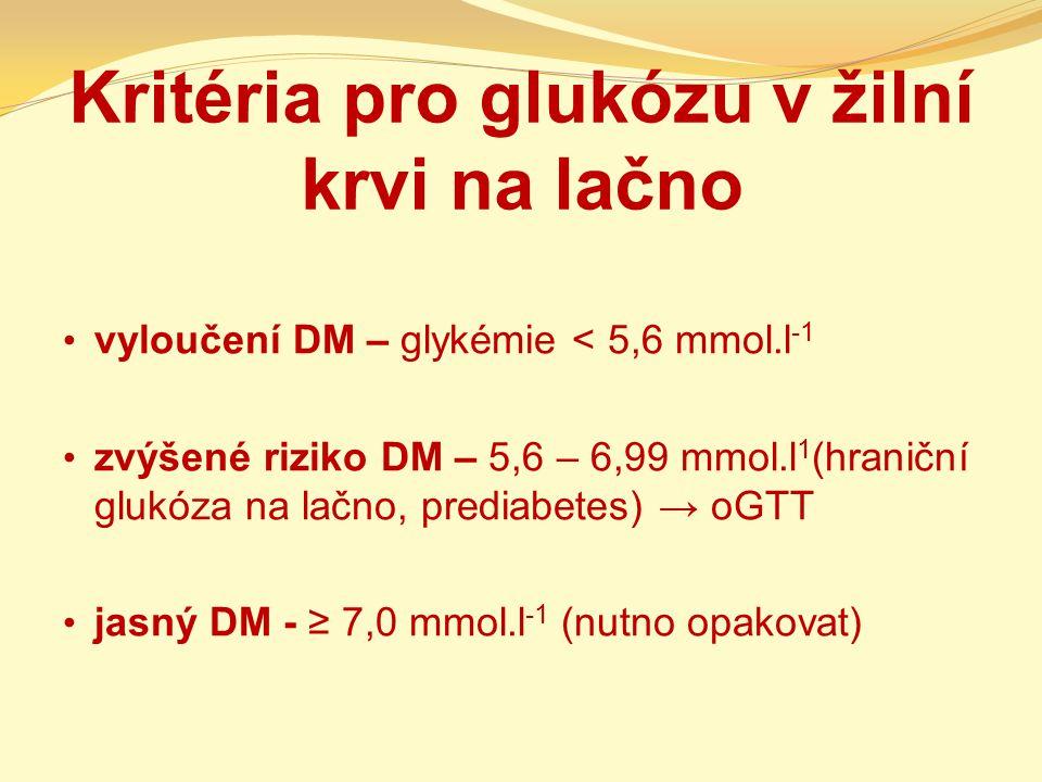 Kritéria pro glukózu v žilní krvi na lačno vyloučení DM – glykémie < 5,6 mmol.l -1 zvýšené riziko DM – 5,6 – 6,99 mmol.l 1 (hraniční glukóza na lačno,