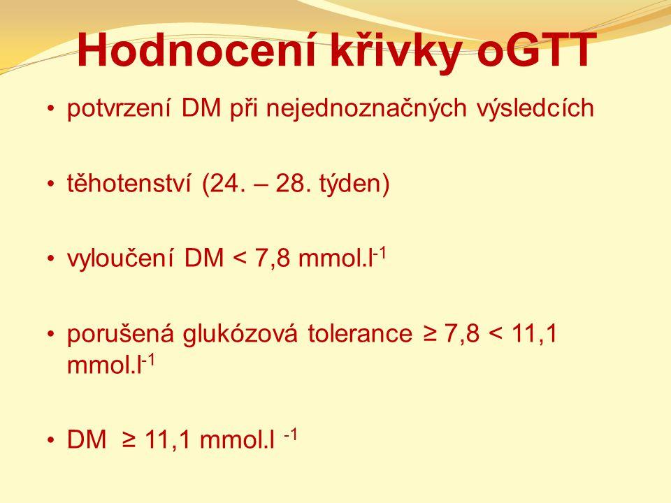 Hodnocení křivky oGTT potvrzení DM při nejednoznačných výsledcích těhotenství (24. – 28. týden) vyloučení DM < 7,8 mmol.l -1 porušená glukózová tolera