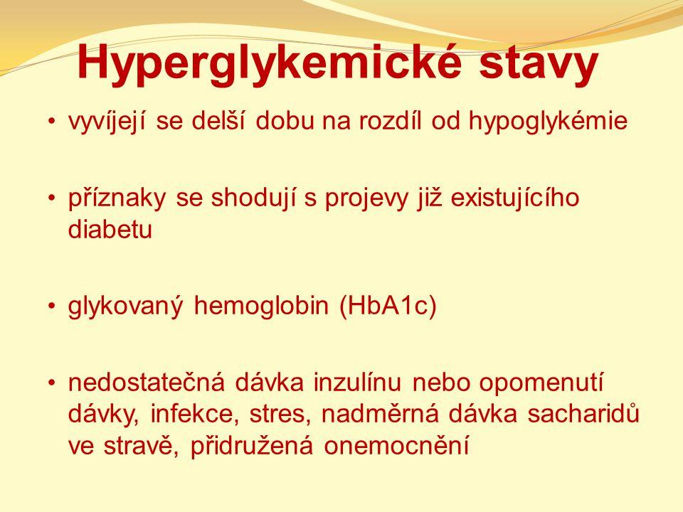 Hyperglykemické stavy vyvíjejí se delší dobu na rozdíl od hypoglykémie příznaky se shodují s projevy již existujícího diabetu glykovaný hemoglobin (Hb