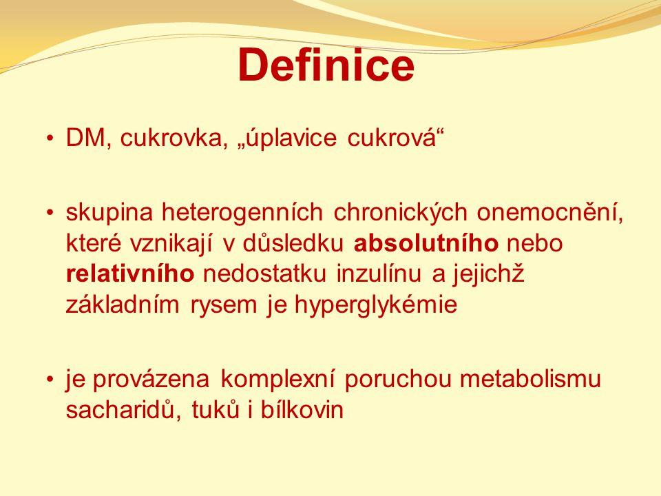 """Definice DM, cukrovka, """"úplavice cukrová"""" skupina heterogenních chronických onemocnění, které vznikají v důsledku absolutního nebo relativního nedosta"""