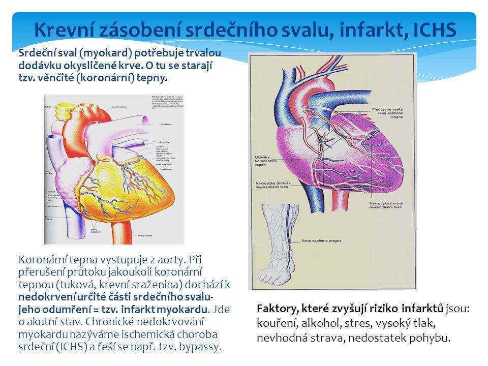 Srdeční sval (myokard) potřebuje trvalou dodávku okysličené krve. O tu se starají tzv. věnčité (koronární) tepny. Koronární tepna vystupuje z aorty. P