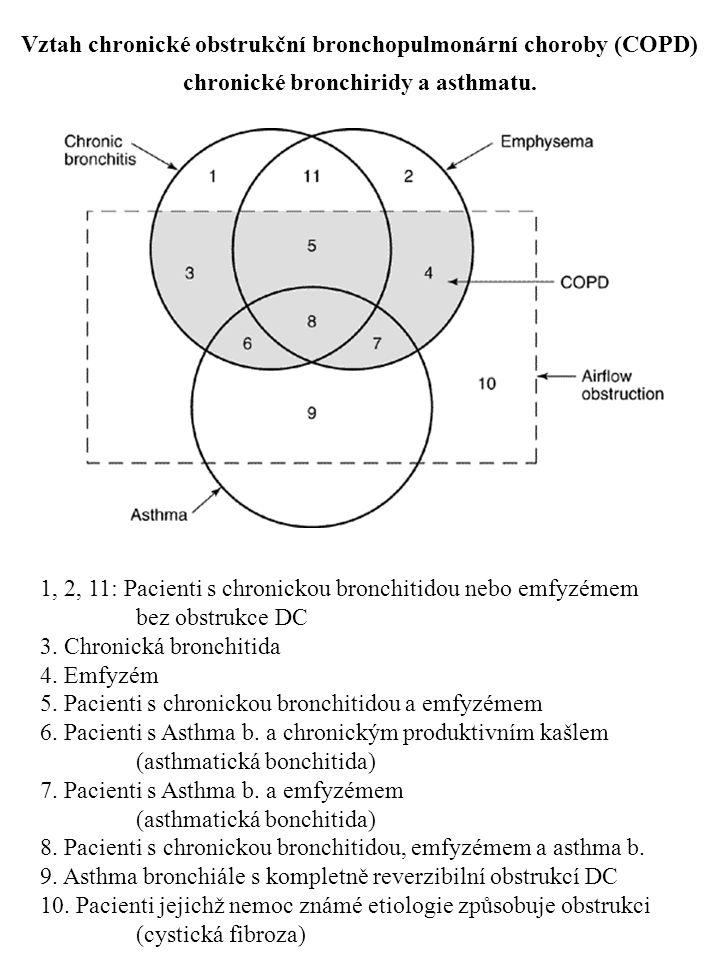 Vztah chronické obstrukční bronchopulmonární choroby (COPD) chronické bronchiridy a asthmatu. 1, 2, 11: Pacienti s chronickou bronchitidou nebo emfyzé