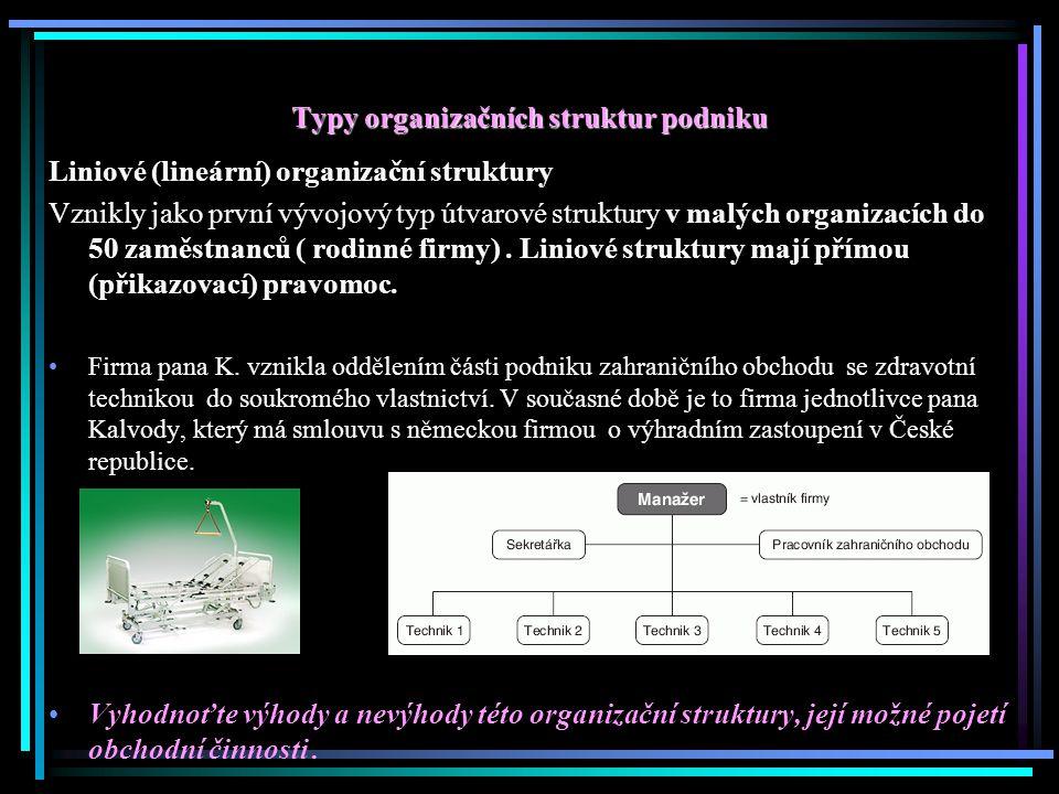 Typy organizačních struktur podniku Liniové (lineární) organizační struktury Vznikly jako první vývojový typ útvarové struktury v malých organizacích