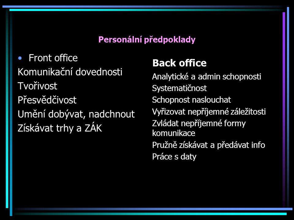 Personální předpoklady Front office Komunikační dovednosti Tvořivost Přesvědčivost Umění dobývat, nadchnout Získávat trhy a ZÁK Back office Analytické