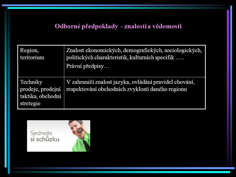 Odborné předpoklady - znalosti a vědomosti Region, teritorium Znalost ekonomických, demografických, sociologických, politických charakteristik, kultur