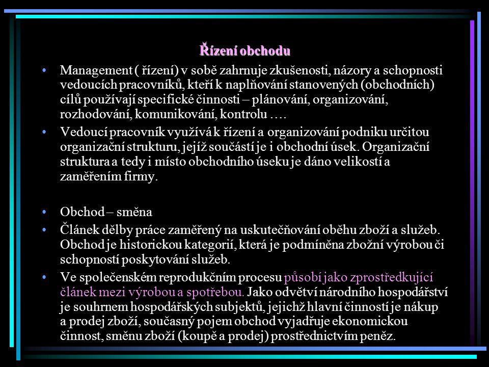 OBCHOD – definice Proces, jehož prostřednictvím uspokojují jednotlivci a skupiny své potřeby a přání v procesu výroby a směny produktů a hodnot Lidská a firemní potřeba je stav pociťovaného nedostatku ( potrava, ošacení, teplo, bezpečí, jistota, sounáležitosti, touha po poznání a seberealizaci, firma – výrobní zdroje, lidské zdroje, surovinové zdroje…) Přání – potřeby utvářené vnější kulturou a osobností jedince ( jsou neomezené) Hladový člověk touží po jídle, najezený člověk touží po …., majitel malé firmy touží po lepším strojním vybavení, majitel velké firmy touží po ….