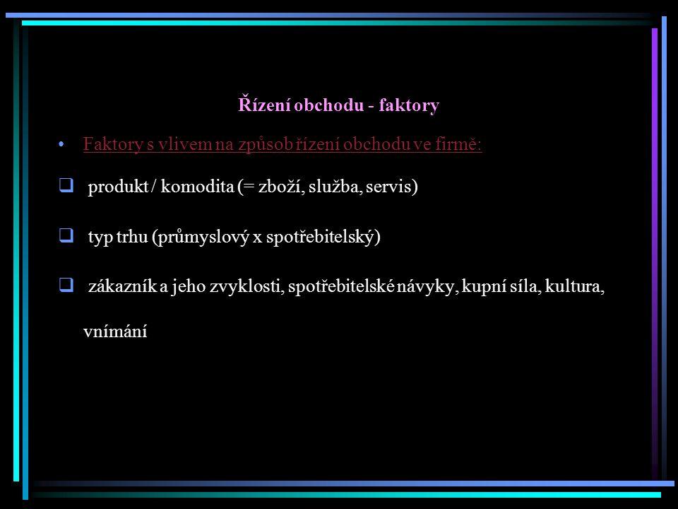 Řízení obchodu - faktory Faktory s vlivem na způsob řízení obchodu ve firmě:  produkt / komodita (= zboží, služba, servis)  typ trhu (průmyslový x s