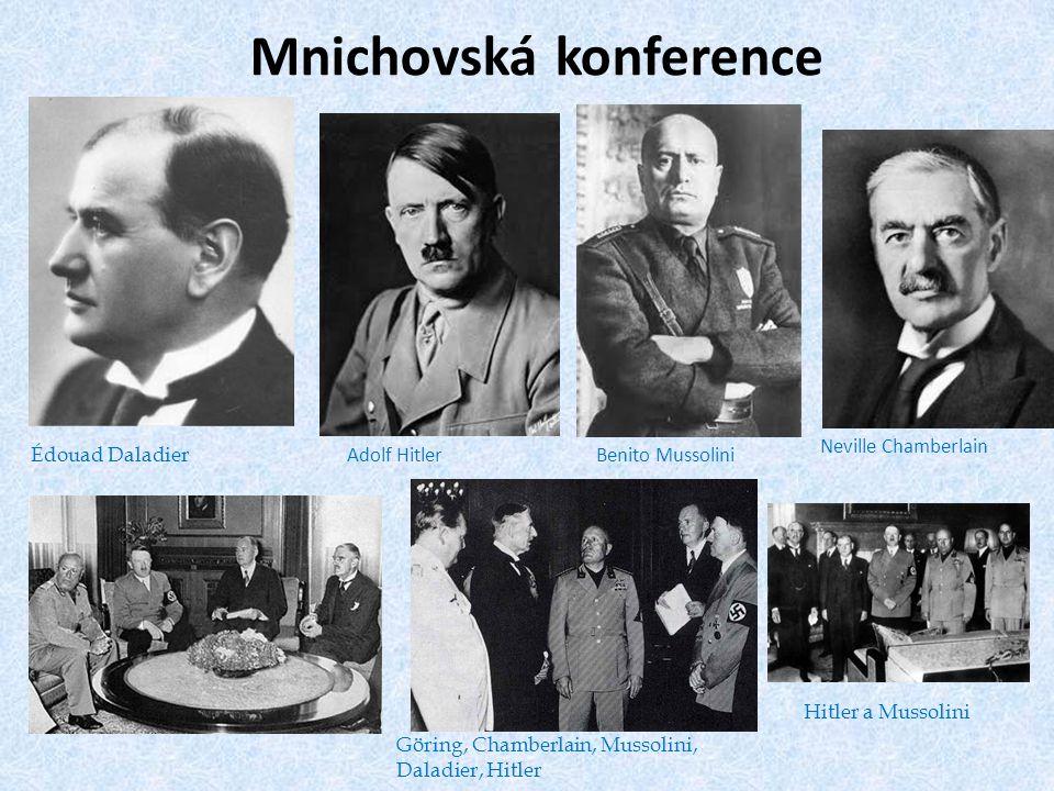 Mnichovská konference Édouad Daladier Adolf HitlerBenito Mussolini Neville Chamberlain Göring, Chamberlain, Mussolini, Daladier, Hitler Hitler a Mussolini