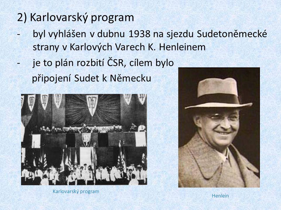 Zápis: ČSR v roce 1938, mnichovská konference 1)Anšlus Rakouska: -v březnu 1938 Hitler obsadil Rakousko 2) Karlovarský program -byl vyhlášen v dubnu 1938 na sjezdu Sudetoněmecké strany v Karlových Varech K.