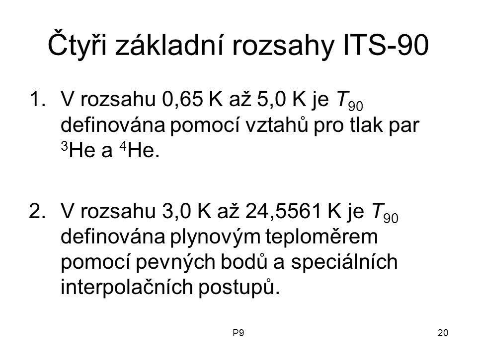 P920 Čtyři základní rozsahy ITS-90 1.V rozsahu 0,65 K až 5,0 K je T 90 definována pomocí vztahů pro tlak par 3 He a 4 He. 2.V rozsahu 3,0 K až 24,5561