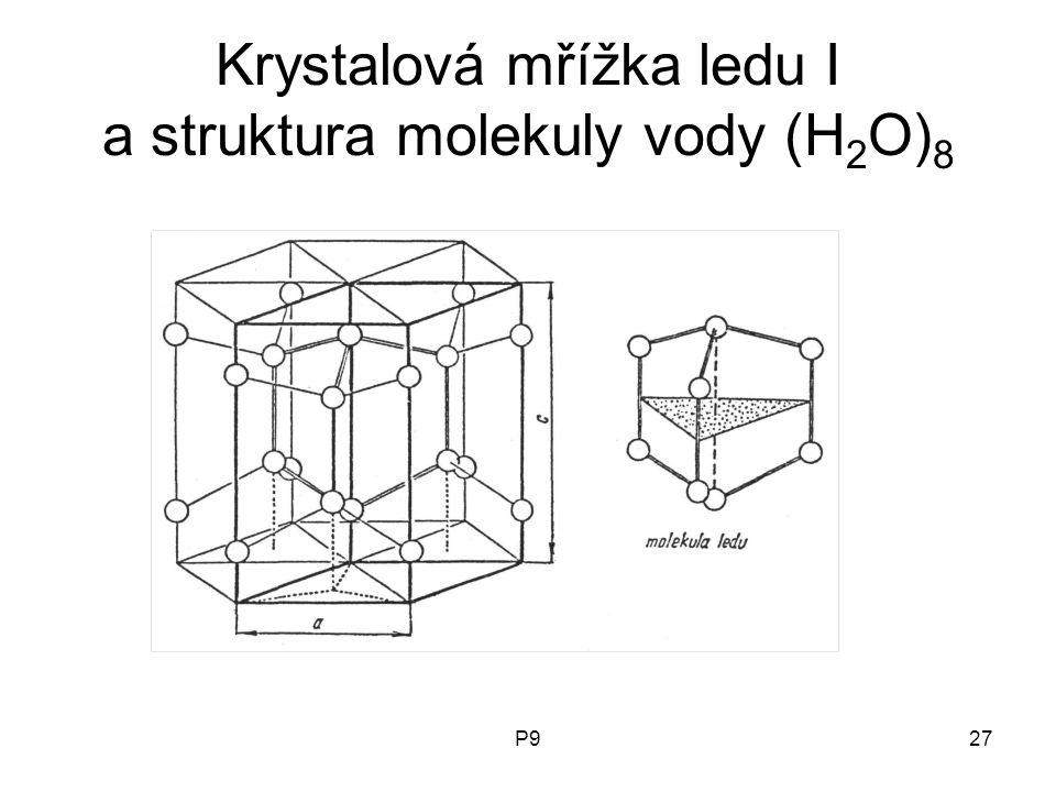 P927 Krystalová mřížka ledu I a struktura molekuly vody (H 2 O) 8