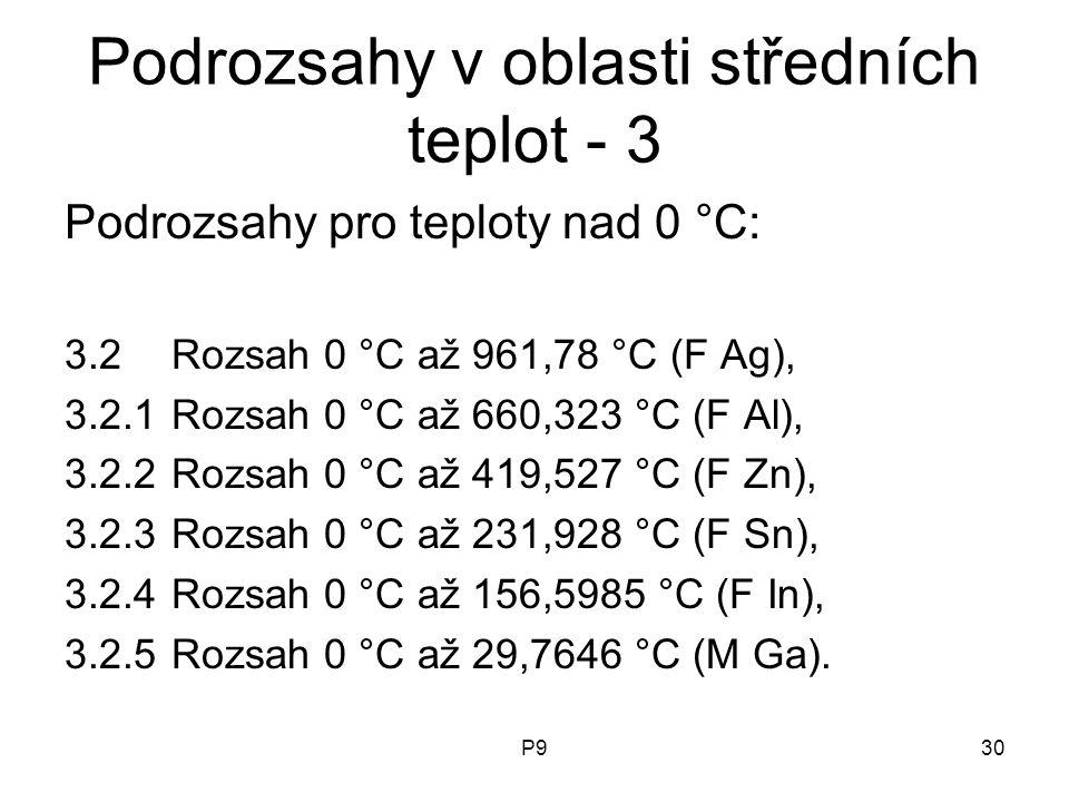 P930 Podrozsahy v oblasti středních teplot - 3 Podrozsahy pro teploty nad 0 °C: 3.2Rozsah 0 °C až 961,78 °C (F Ag), 3.2.1Rozsah 0 °C až 660,323 °C (F
