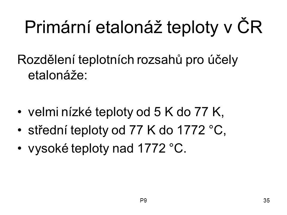 P935 Primární etalonáž teploty v ČR Rozdělení teplotních rozsahů pro účely etalonáže: velmi nízké teploty od 5 K do 77 K, střední teploty od 77 K do 1