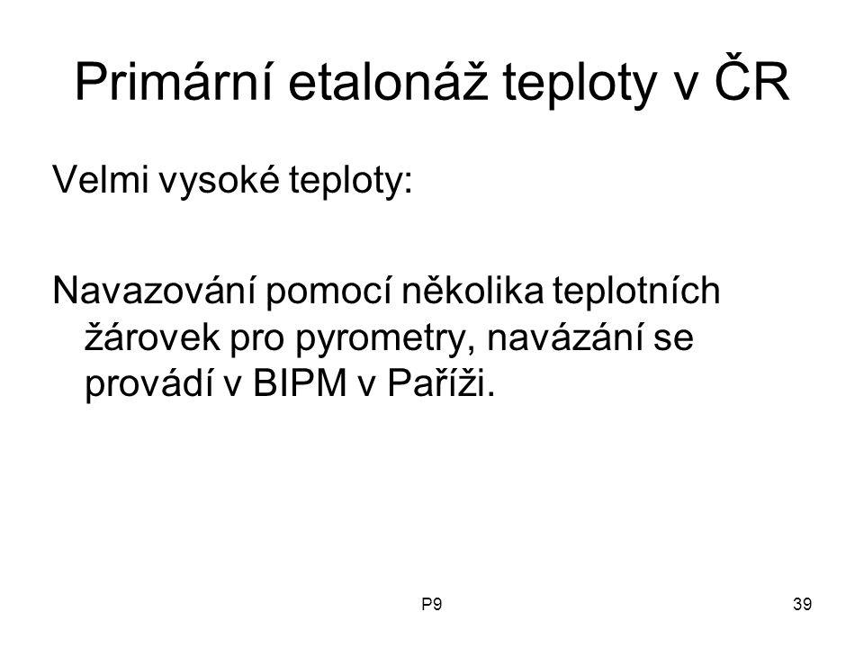 P939 Primární etalonáž teploty v ČR Velmi vysoké teploty: Navazování pomocí několika teplotních žárovek pro pyrometry, navázání se provádí v BIPM v Pa