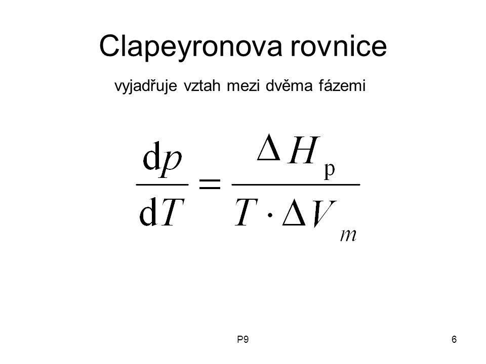P96 Clapeyronova rovnice vyjadřuje vztah mezi dvěma fázemi