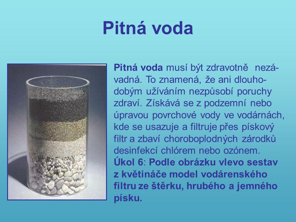 Pitná voda Pitná voda musí být zdravotně nezá- vadná.