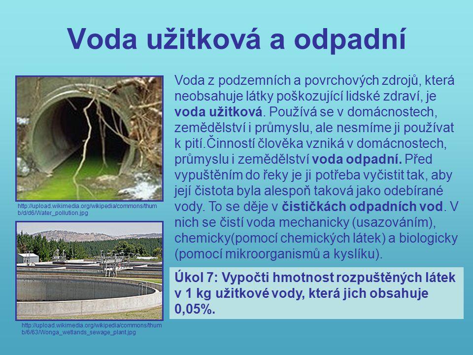 Voda užitková a odpadní http://upload.wikimedia.org/wikipedia/commons/thum b/d/d6/Water_pollution.jpg http://upload.wikimedia.org/wikipedia/commons/thum b/6/63/Wonga_wetlands_sewage_plant.jpg Voda z podzemních a povrchových zdrojů, která neobsahuje látky poškozující lidské zdraví, je voda užitková.