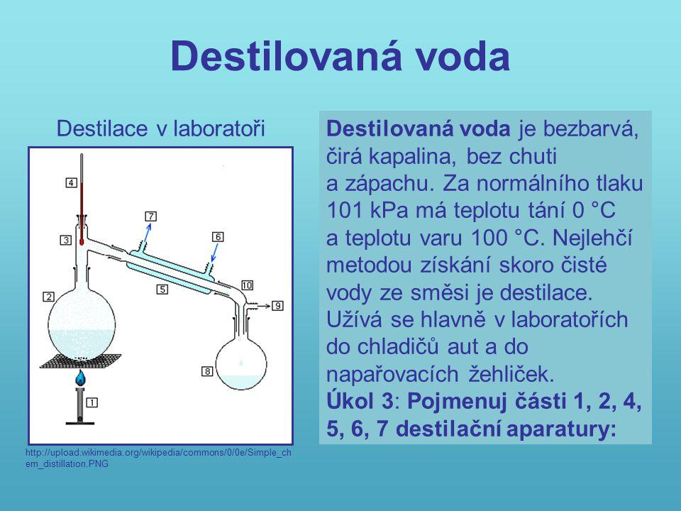 Kontrola úkolu 8 Voda, H 2 O, je nejrozšířenější sloučenina vodíku a kyslíku.