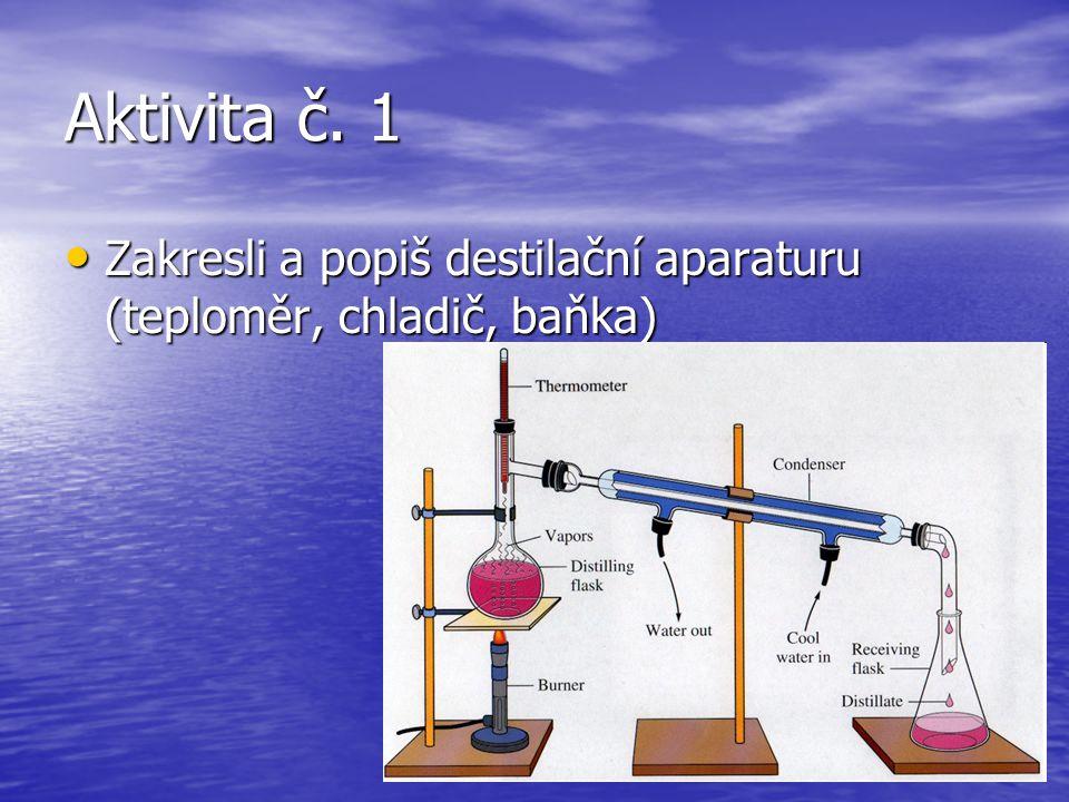 Aktivita č. 1 Zakresli a popiš destilační aparaturu (teploměr, chladič, baňka) Zakresli a popiš destilační aparaturu (teploměr, chladič, baňka)