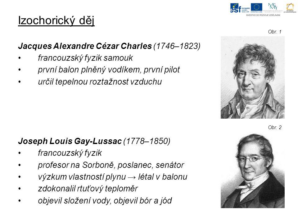 Izochorický děj Jacques Alexandre Cézar Charles (1746–1823) francouzský fyzik samouk první balon plněný vodíkem, první pilot určil tepelnou roztažnost vzduchu Joseph Louis Gay-Lussac (1778–1850) francouzský fyzik profesor na Sorboně, poslanec, senátor výzkum vlastností plynu → létal v balonu zdokonalil rtuťový teploměr objevil složení vody, objevil bór a jód Obr.