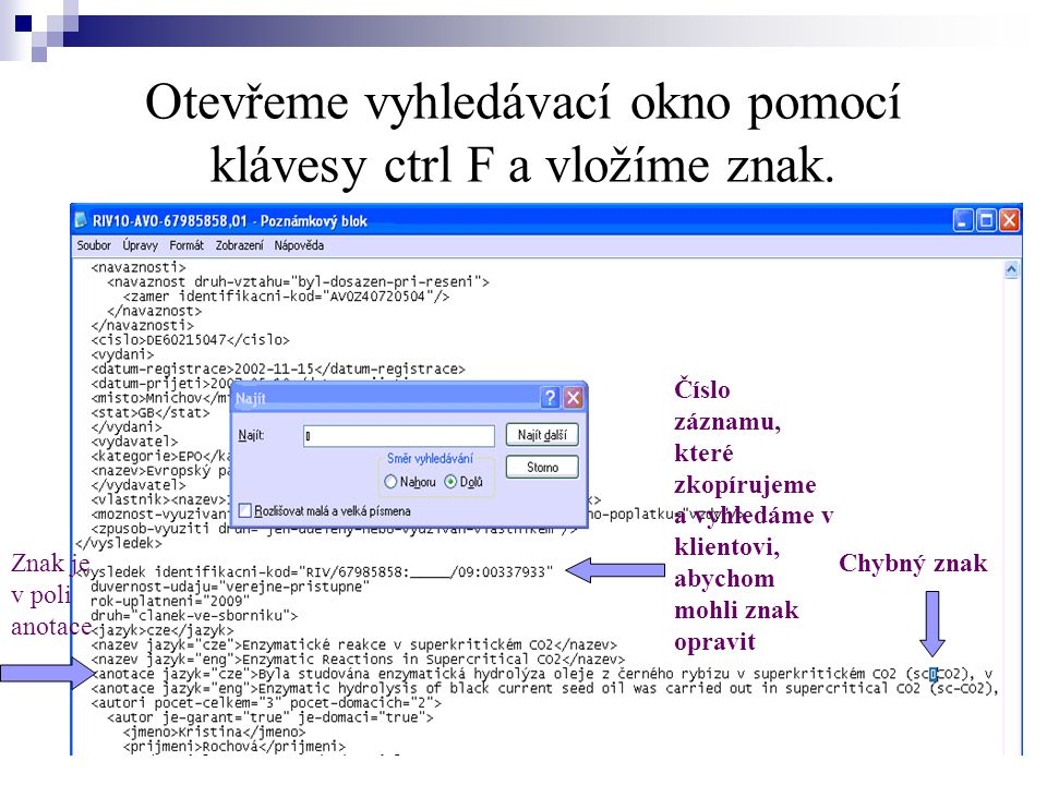Otevřeme vyhledávací okno pomocí klávesy ctrl F a vložíme znak. Chybný znak Číslo záznamu, které zkopírujeme a vyhledáme v klientovi, abychom mohli zn