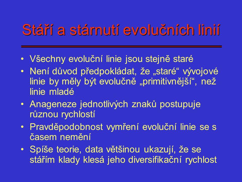 """Stáří a stárnutí evolučních linií Všechny evoluční linie jsou stejně staré Není důvod předpokládat, že """"staré"""" vývojové linie by měly být evolučně """"pr"""