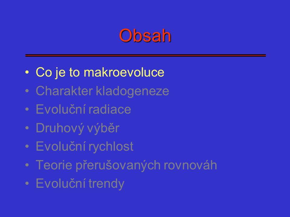 Obsah Co je to makroevoluce Charakter kladogeneze Evoluční radiace Druhový výběr Evoluční rychlost Teorie přerušovaných rovnováh Evoluční trendy