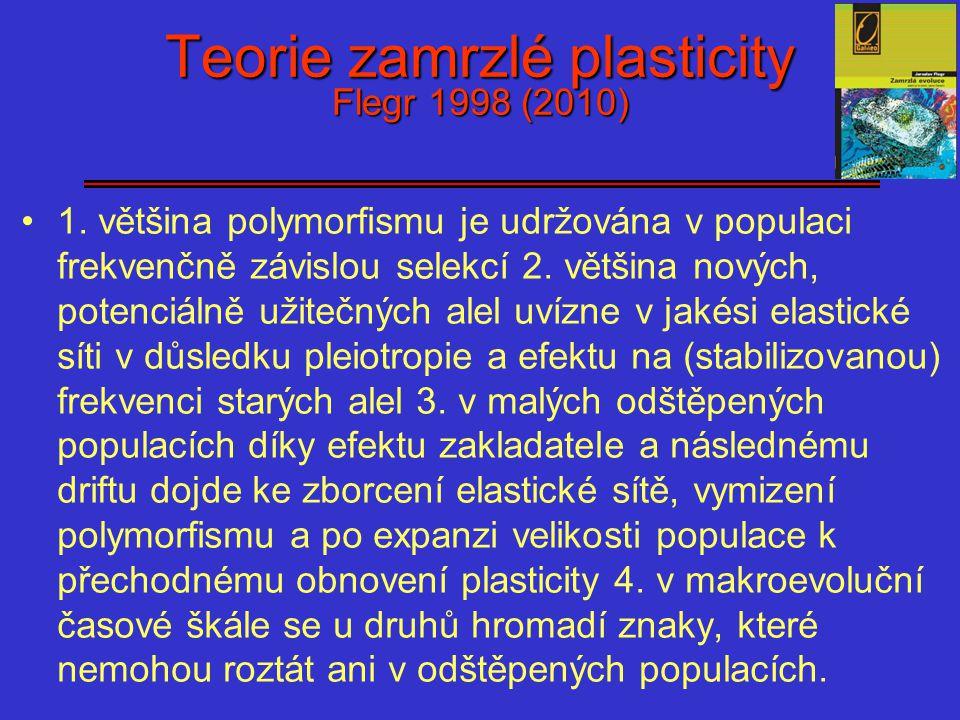 Teorie zamrzlé plasticity Flegr 1998 (2010) 1. většina polymorfismu je udržována v populaci frekvenčně závislou selekcí 2. většina nových, potenciálně