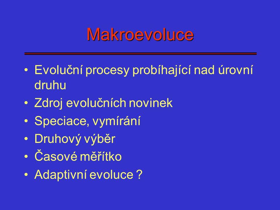Makroevoluce Evoluční procesy probíhající nad úrovní druhu Zdroj evolučních novinek Speciace, vymírání Druhový výběr Časové měřítko Adaptivní evoluce