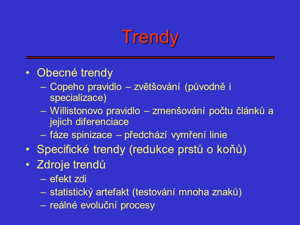Trendy Obecné trendy –Copeho pravidlo – zvětšování (původně i specializace) –Willistonovo pravidlo – zmenšování počtu článků a jejich diferenciace –fá