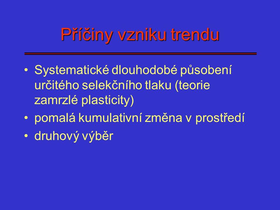 Příčiny vzniku trendu Systematické dlouhodobé působení určitého selekčního tlaku (teorie zamrzlé plasticity) pomalá kumulativní změna v prostředí druh