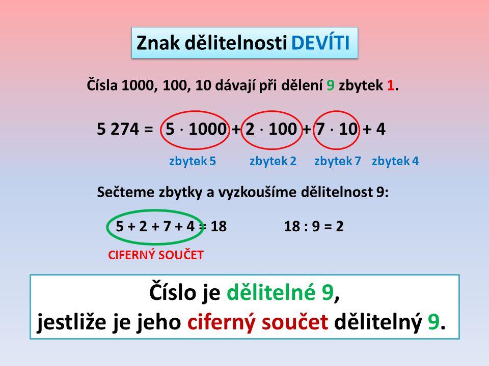 Znak dělitelnosti DEVÍTI 5 274 = 5  1000 + 2  100 + 7  10 + 4 Čísla 1000, 100, 10 dávají při dělení 9 zbytek 1. zbytek 5zbytek 2zbytek 7zbytek 4 Se