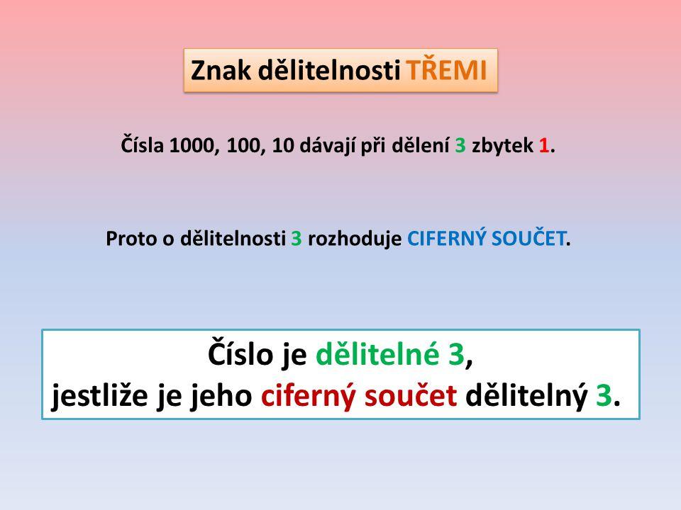 Znak dělitelnosti TŘEMI Čísla 1000, 100, 10 dávají při dělení 3 zbytek 1. Proto o dělitelnosti 3 rozhoduje CIFERNÝ SOUČET. Číslo je dělitelné 3, jestl