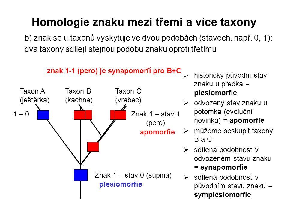 b) znak se u taxonů vyskytuje ve dvou podobách (stavech, např. 0, 1): dva taxony sdílejí stejnou podobu znaku oproti třetímu Znak 1 – stav 0 (šupina)