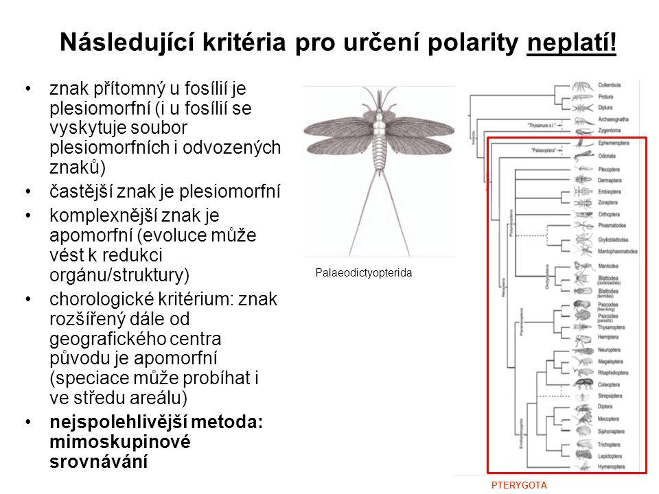 Následující kritéria pro určení polarity neplatí! znak přítomný u fosílií je plesiomorfní (i u fosílií se vyskytuje soubor plesiomorfních i odvozených