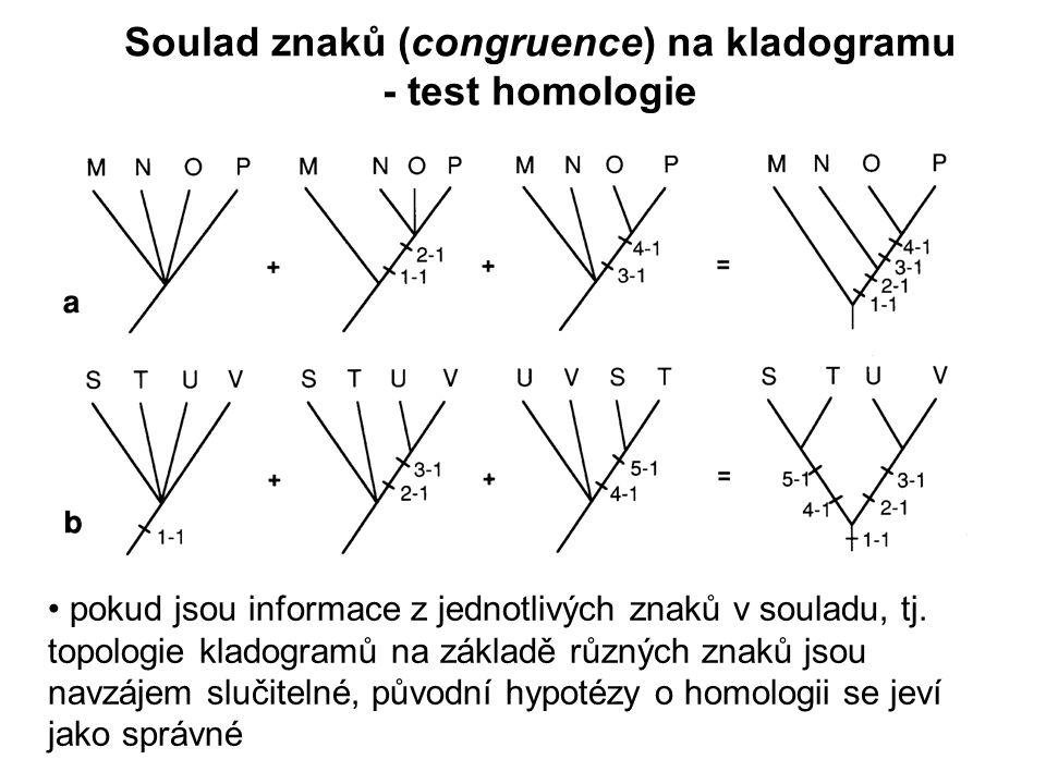 pokud jsou informace z jednotlivých znaků v souladu, tj. topologie kladogramů na základě různých znaků jsou navzájem slučitelné, původní hypotézy o ho