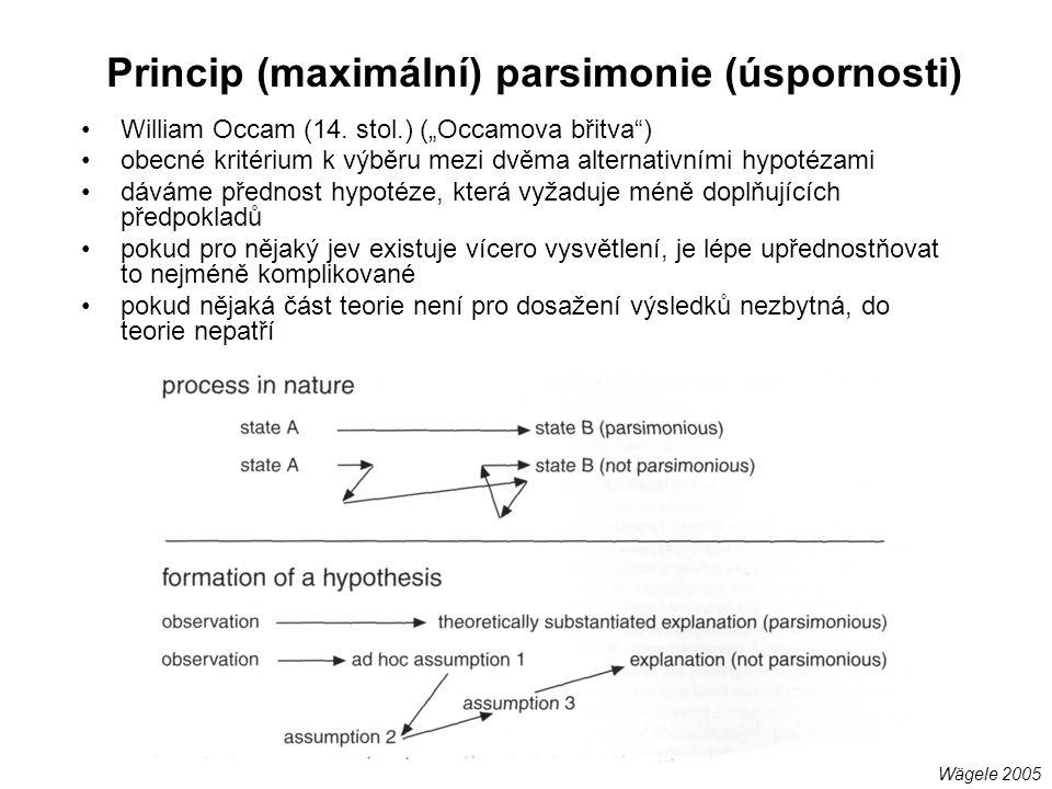 """Princip (maximální) parsimonie (úspornosti) William Occam (14. stol.) (""""Occamova břitva"""") obecné kritérium k výběru mezi dvěma alternativními hypotéza"""