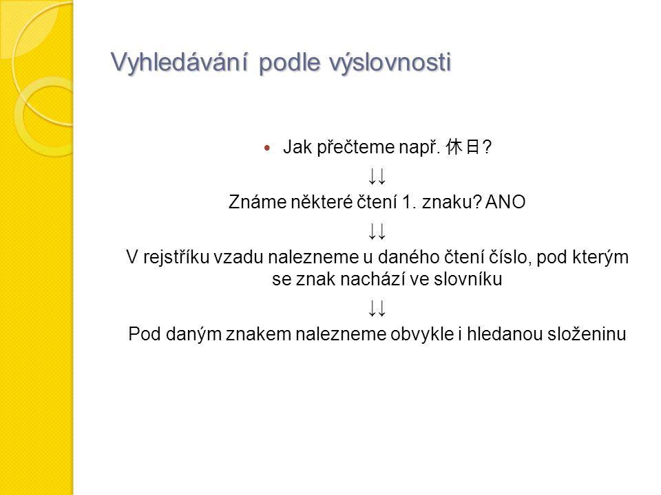 Vyhledávání podle výslovnosti Jak přečteme např. 休日 .