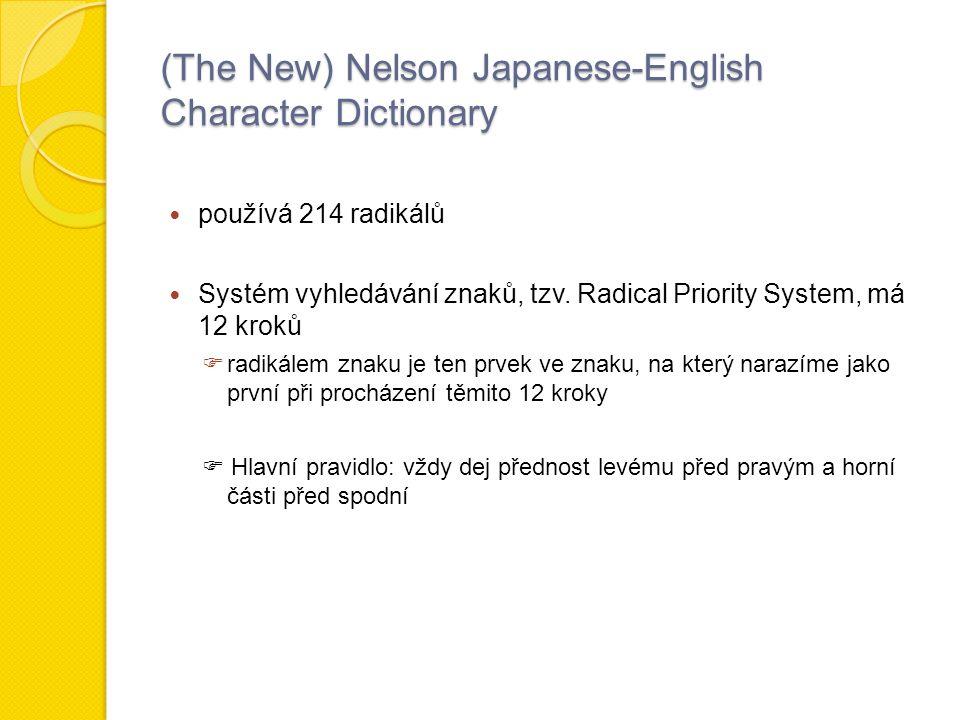 (The New) Nelson Japanese-English Character Dictionary používá 214 radikálů Systém vyhledávání znaků, tzv.
