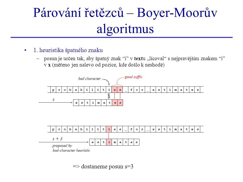 """1. heuristika špatného znaku –posun je určen tak, aby špatný znak """"i"""" v textu """"lícoval"""" s nejpravějším znakem """"i"""" v x (měřeno jen nalevo od pozice, kd"""