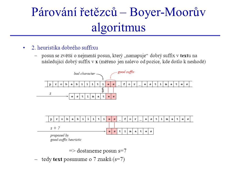 """2. heuristika dobrého suffixu –posun se zvětší o nejmenší posun, který """"namapuje"""" dobrý suffix v textu na následující dobrý suffix v x (měřeno jen nal"""
