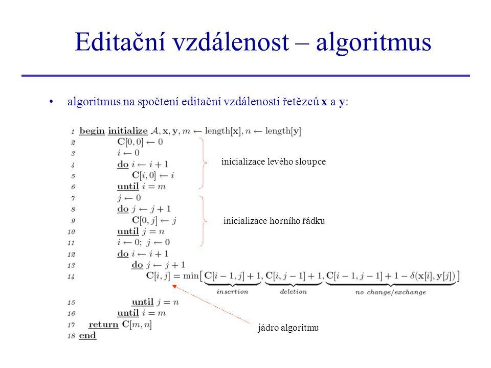 algoritmus na spočtení editační vzdálenosti řetězců x a y: Editační vzdálenost – algoritmus inicializace levého sloupce inicializace horního řádku jád