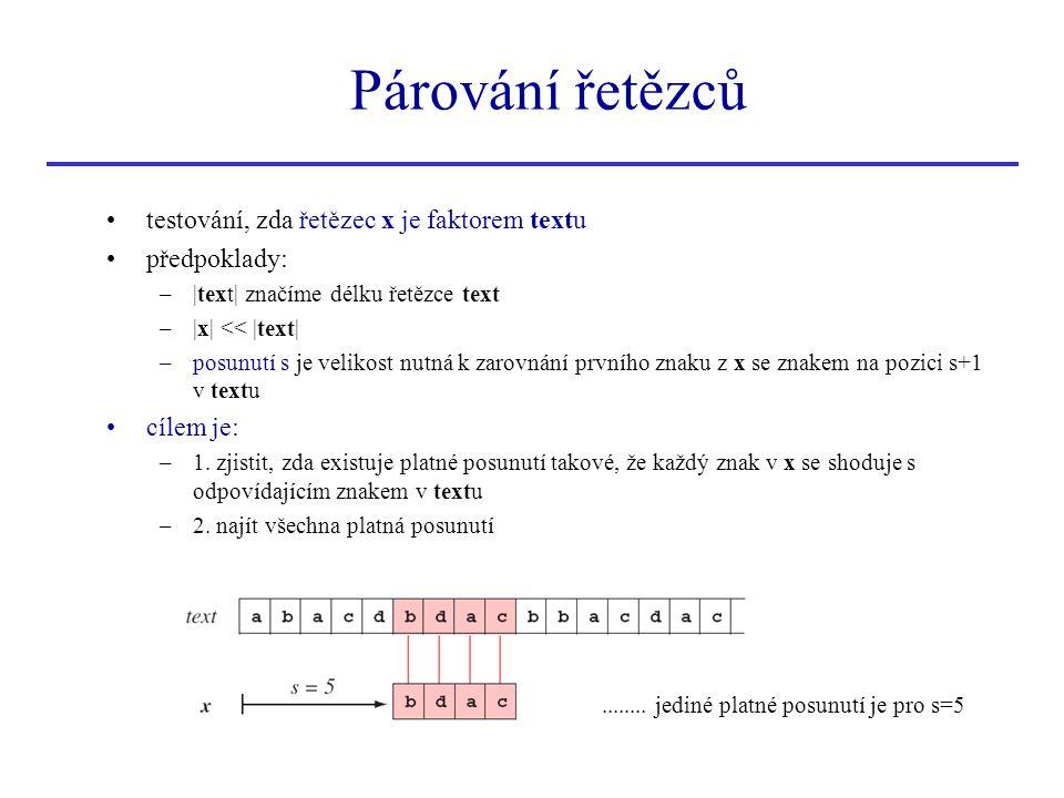 Párování řetězců testování, zda řetězec x je faktorem textu předpoklady: –|text| značíme délku řetězce text –|x| << |text| –posunutí s je velikost nut