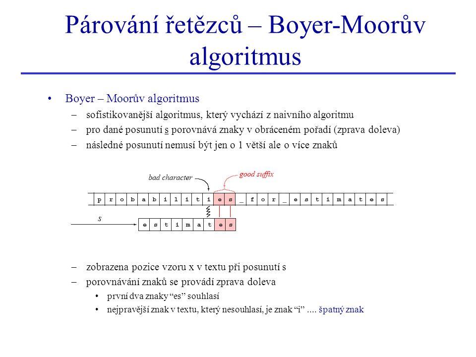 Párování řetězců – Boyer-Moorův algoritmus Boyer – Moorův algoritmus –sofistikovanější algoritmus, který vychází z naivního algoritmu –pro dané posunu