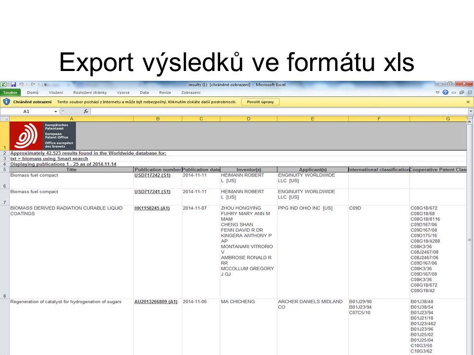 Export výsledků ve formátu xls