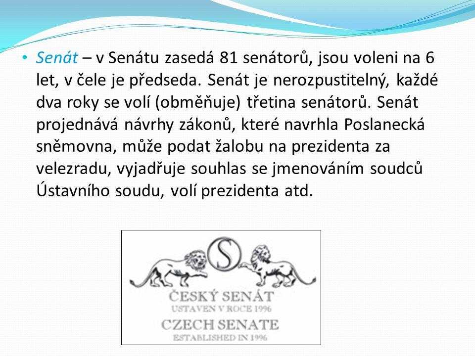 Senát – v Senátu zasedá 81 senátorů, jsou voleni na 6 let, v čele je předseda. Senát je nerozpustitelný, každé dva roky se volí (obměňuje) třetina sen