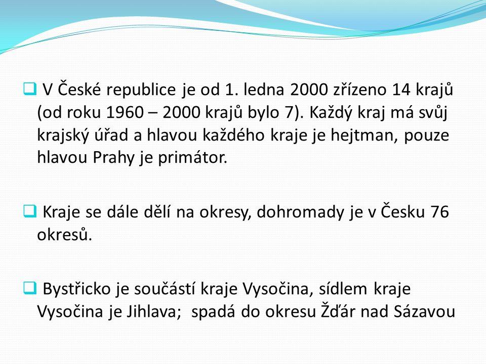  V České republice je od 1. ledna 2000 zřízeno 14 krajů (od roku 1960 – 2000 krajů bylo 7). Každý kraj má svůj krajský úřad a hlavou každého kraje je