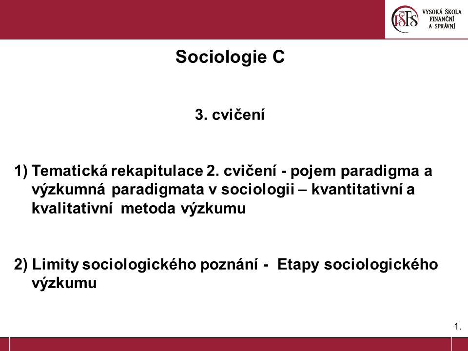 1.1. Sociologie C 3. cvičení 1)Tematická rekapitulace 2. cvičení - pojem paradigma a výzkumná paradigmata v sociologii – kvantitativní a kvalitativní