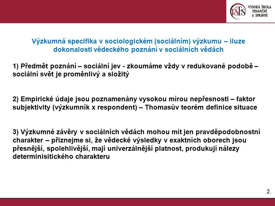 2.2. Výzkumná specifika v sociologickém (sociálním) výzkumu – iluze dokonalosti vědeckého poznání v sociálních vědách 1) Předmět poznání – sociální je